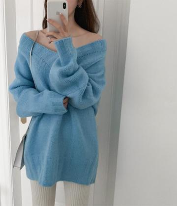 Deep v knit