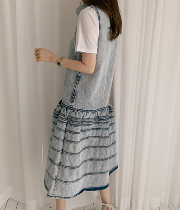 Snow denim dress *scarf set*