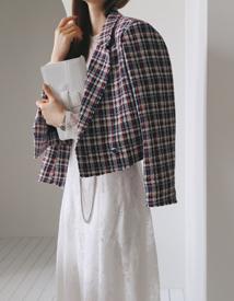 Check tweed short jacket