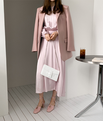 Satin shirring dress