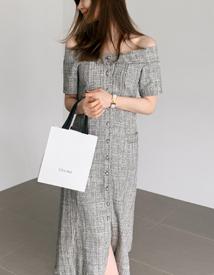Shoulder tweed dress