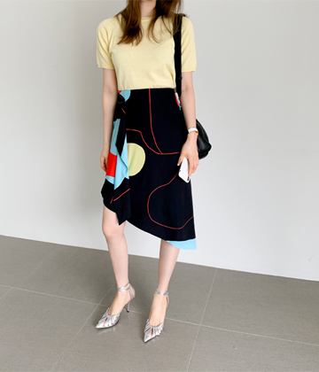 Colored unbal skirt