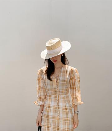 Button check dress
