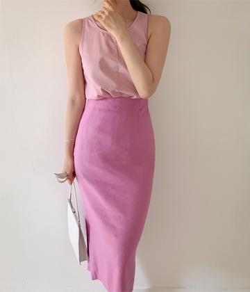 Pencil linen skirt