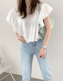 Summer lace punching blouse