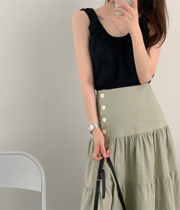 Shirring sleeveless top