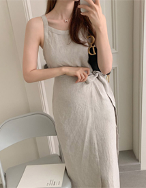 Natural linen wrap dress