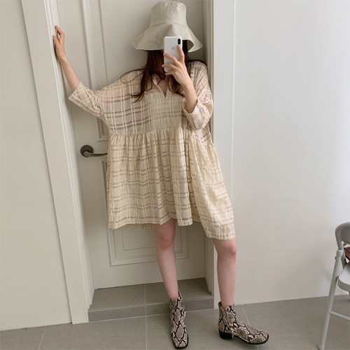 Girlish check dress