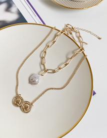 Coin set necklace