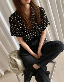 Leopard short sleeve blouse