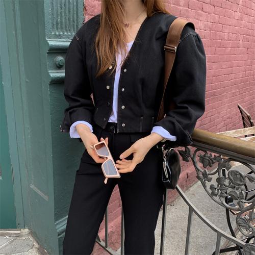 Button crop jacket