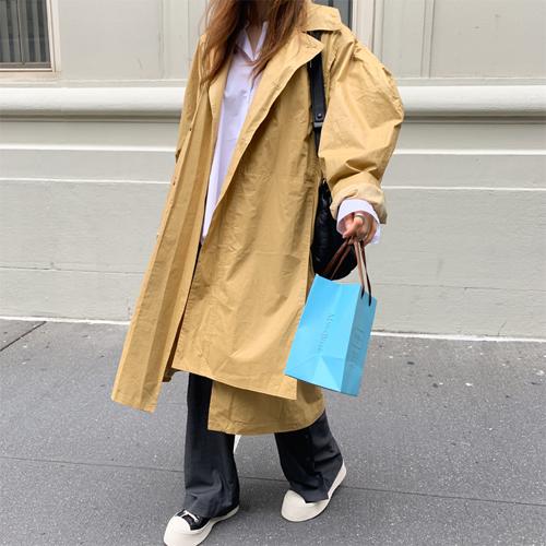 Cotton boxy trench coat