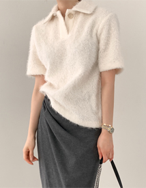 Snow collar knit blouse