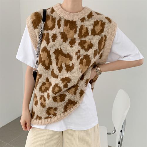Leopard boxy vest