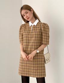 Tweed short sleeve dress