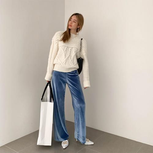 Velvet wide pants