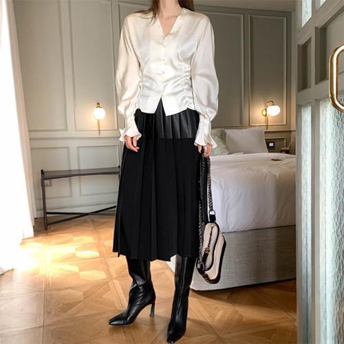 Sharon leather pleats skirt