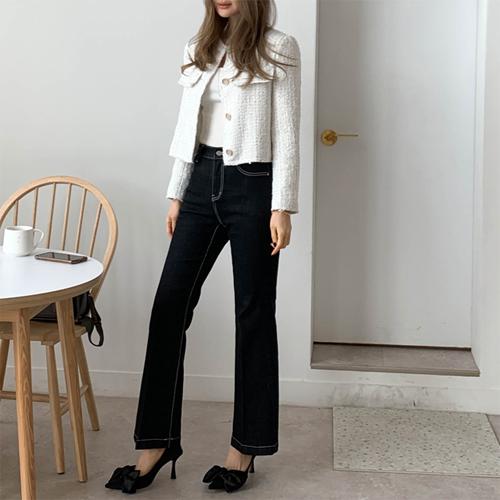 Line dark denim pants