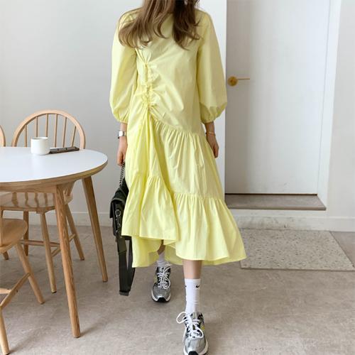 Spring shirring dress