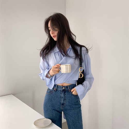 Crop wrap blouse