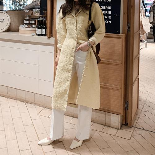 Open collar tweed dress