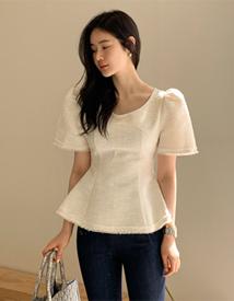 Jacquard puff blouse