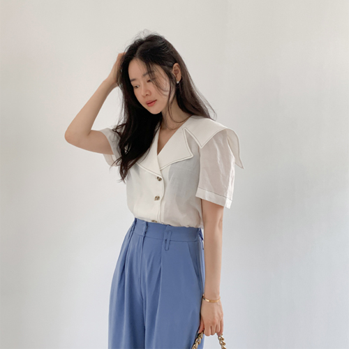 Marine collar blouse