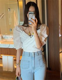 Shirring short blouse