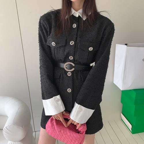 Olive tweed jacket *belt set*