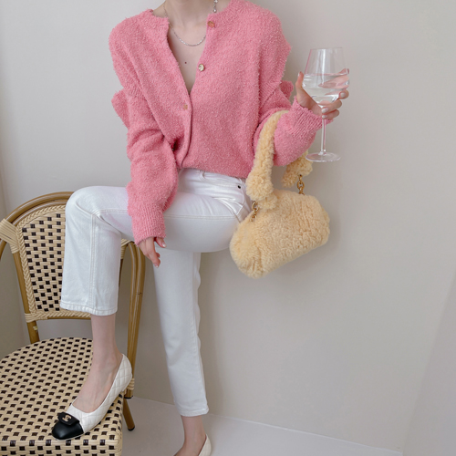 Tail-yarn cardigan