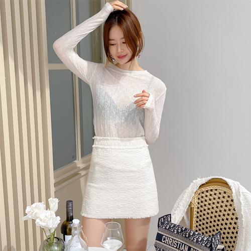 Open tweed skirt